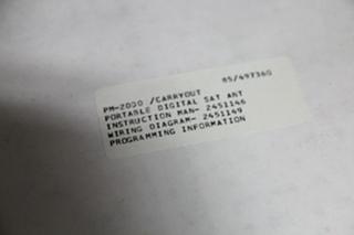 NEW RV/MOTORHOME WINEGARD CARRYOUT PORTABLE SATELLITE ANTENNA MODEL: PM-2000