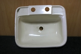 SMALL RV BATHROOM WHITE PLASTIC SINK SIZE: 14.5 X 11