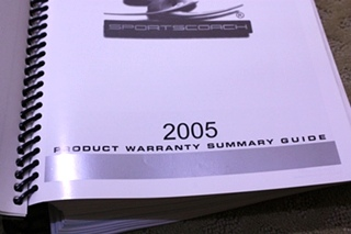 USED 2005 SPORTSCOACH OWNERS MANUAL FOR SALE