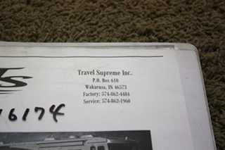 USED 2005 TRAVEL SUPREME SELECT OWNERS MANUAL FOR SALE