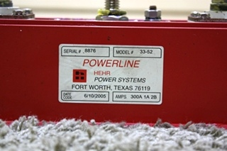 USED RV POWERLINE HEHR POWER SYSTEMS MODEL: 33-52 FOR SALE