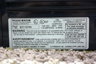 USED RV2000 MAXUM BY HP VACUFLO CLEANING SYSTEM FOR RV/MOTORHOME FOR SALE