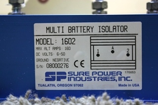 USED RV SURE POWER MODEL: 1602 MULTI BATTERY ISOLATOR FOR SALE