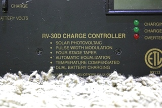 USED MOTORHOME SOLAR CHARGE CONTROLLER RV-30D PANEL FOR SALE