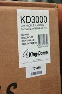 NEW KING DOME WHITE AIR IN-MOTION SATELLITE ANTENNA MODEL: KD3000 (KD-3000)